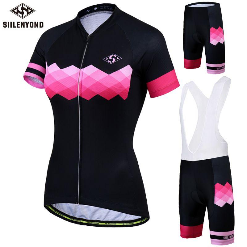 SIILENYOND Women Cycling Sets Jerseys MTB Short Sleeves Jersey Bicycle Shirts Cycling Shorts Sport Clothing Maillot Ciclismo