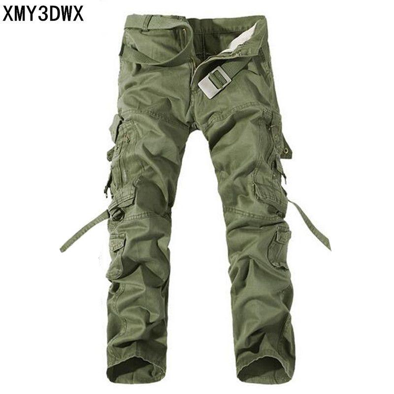 Nouveau 2017 hommes Cargo pantalon armée vert grandes poches décoration hommes décontracté wash pantalon mâle automne armée pantalon grande taille 40