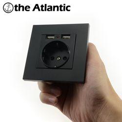 Розетки Мощность 16a ЕС Стандартный выход с 2A Dual USB Зарядное устройство Порты и разъёмы для мобильного телефона ПК панели черный USB разъем Мощ...