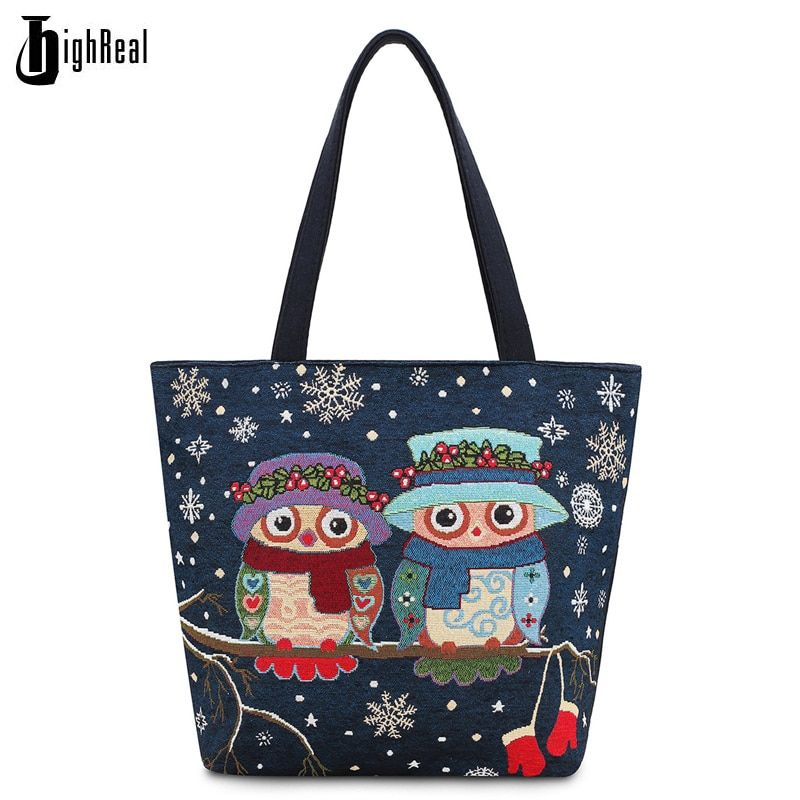 Women Bag Women's Canvas Handbag Embroidery Owl Tote Lady Shoulder Bags Summer Holiday Beach Bag Shopping Bag