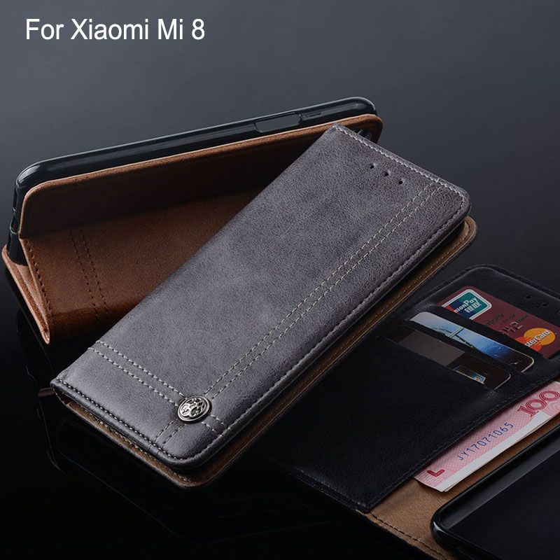 for Xiaomi Mi 8 Case Luxury Leather Flip cover funda with Stand Card Slot phone cases for xiaomi mi 8 mi8 Without magnets coque