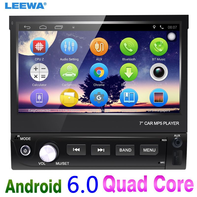 LEEWA 7inch 1DIN In-dash Manumotive Ultra Slim Android 6.0 Quad Core Car GPS Bluetooth Navi Radio USB Media Player #CA4106
