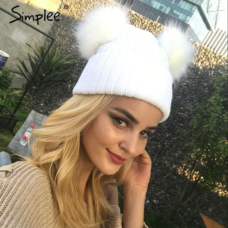 Simplee Winter fur pompom knitted hat cap Women elegant autumn white skullies beanies Casual streetwear warm female black cap