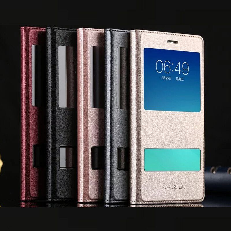 Case for Huawei G9 Lite P9 Lite Dual Window View Flip Cover Cover PU Leather Back Case 5.2 inch