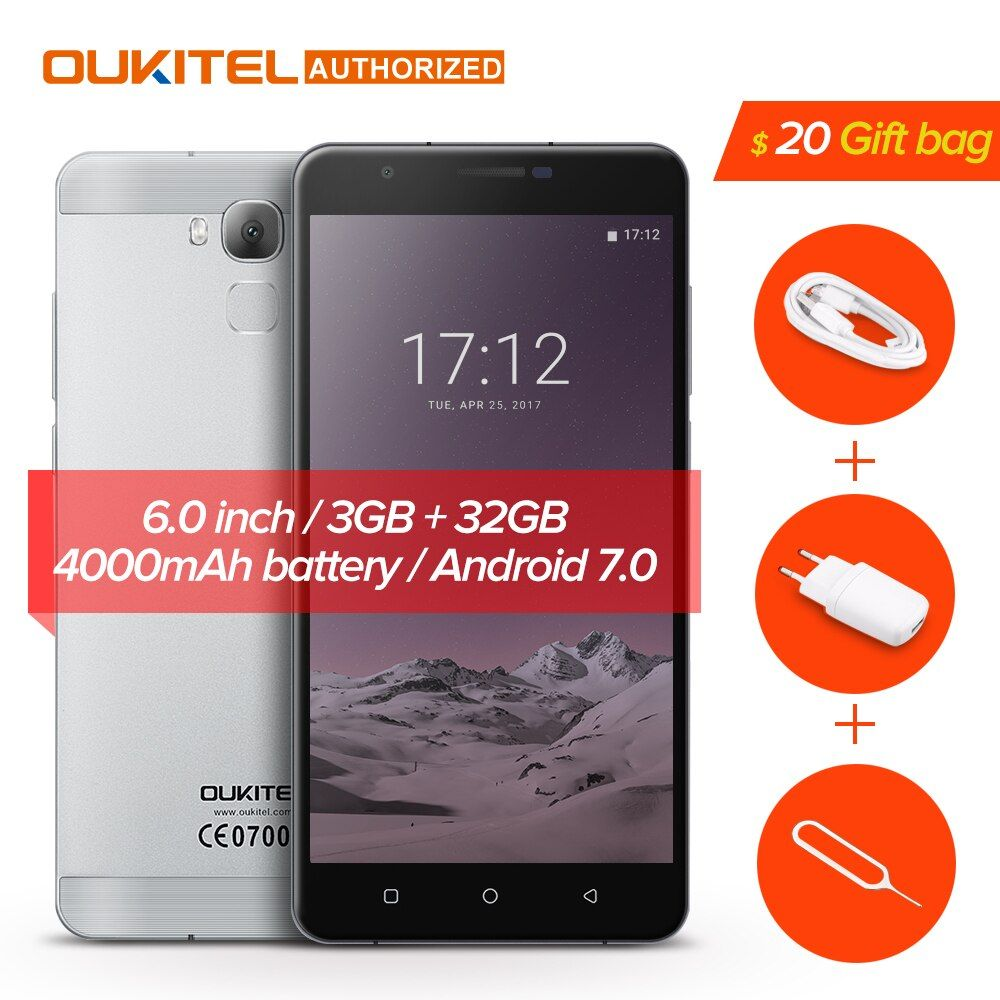 Oukitel U16 Max Smartphone Android 7.0 MTK6753 Octa Core ROM 32G+RAM 3G 6.0 inch Fingerprint Touch ID 13.0MP 4000mAh Cellphone