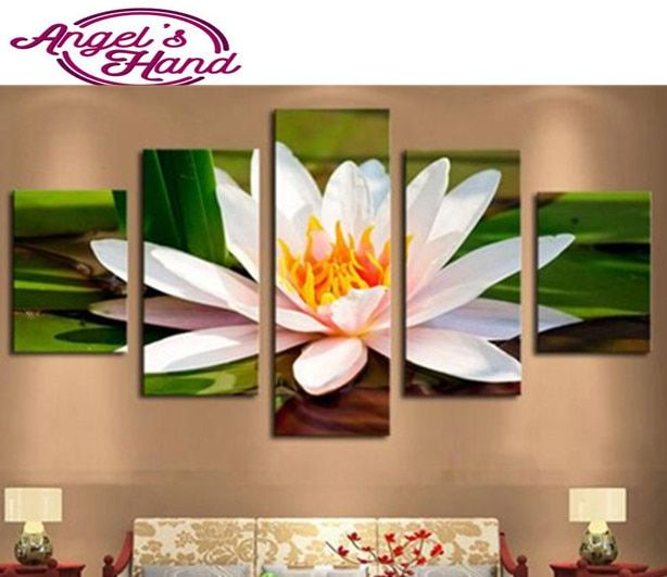 5pcs 5d Diy Diamond Painting Blooming lotus Cross Stitch Modern 3d Diamond Embroidery Crystal Diamond Mosaic Picture Needlework