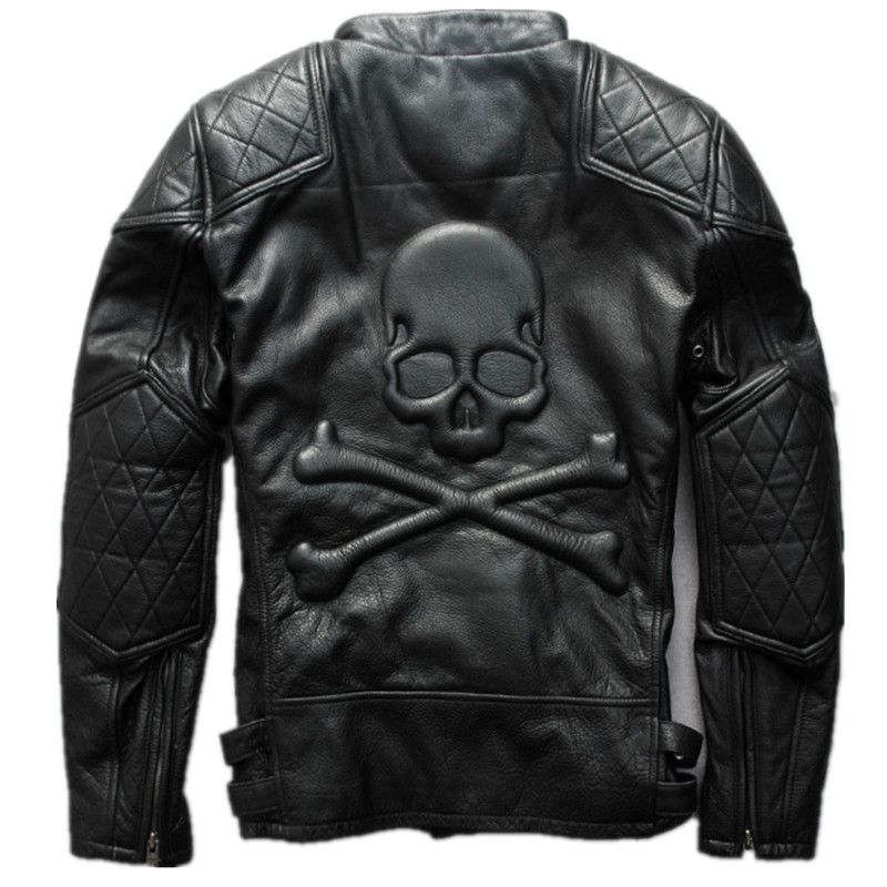 2018 Men Vintage Black Skull Leather Motorcycle Jacket Genuine Thick Cowhide Slim Fit Short Biker Leather Coat 3XL FREE SHIPPING