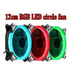 RGB Case circle Cooling or double circle Fan 120mm 12cm With RGB LED Ring For Computer Cooler Color  Radiator Fan