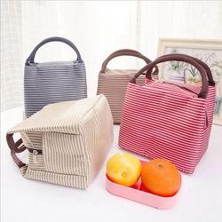 Досуг, женская переносная сумочка для обеда, брезент, с полосой, изолированная сумка-холодильник, термо сумки для еды, на пикник, обед, детска...