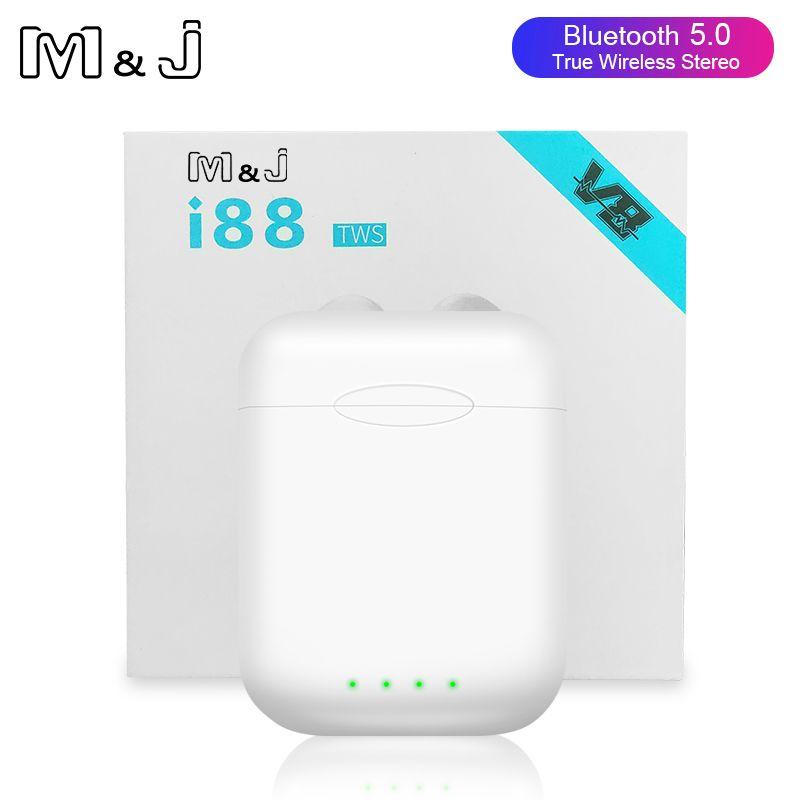 Original i88 TWS Bluetooth 5.0 Earphone Mini Wireless stereo Touch Earbuds Earphones PK i10 i12 i30 i60 i80 i100 drop shipping