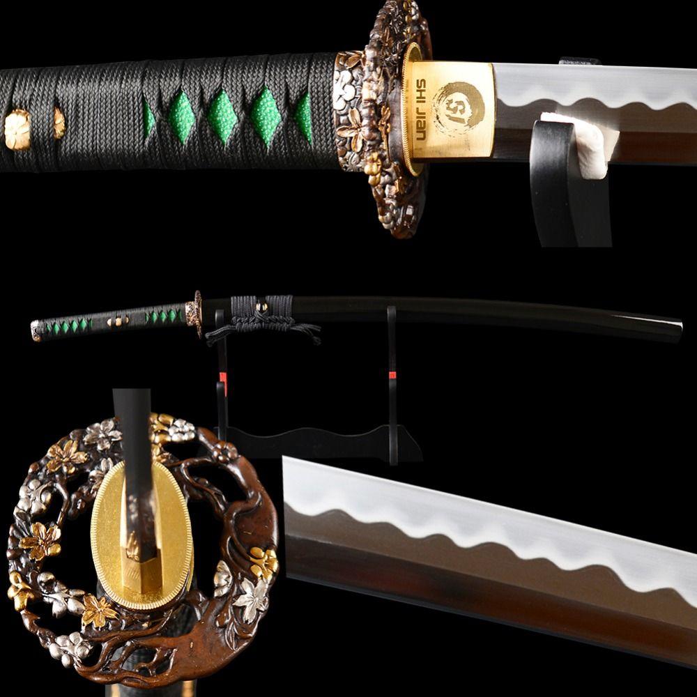 SJ Handgeschmiedet Polieren Kohlenstoffstahl Lehm Ausgeglichenem Full Tang ausbildung Sharp Japanische Katana Samurai Schwert