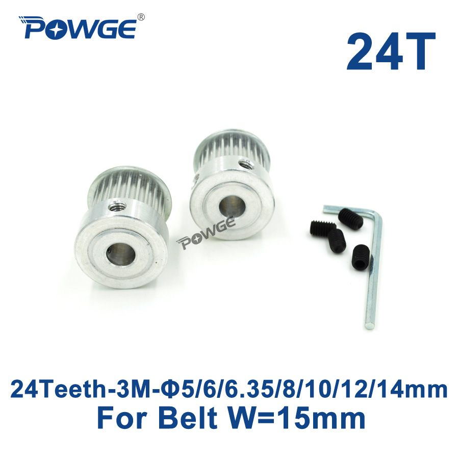 POWGE 2pcs 24 Teeth HTD 3M Synchronous Pulley Bore 5/6/6.35/8/10/12/14mm for Width 15mm 3M Timing belt HTD3M pulley 24Teeth 24T