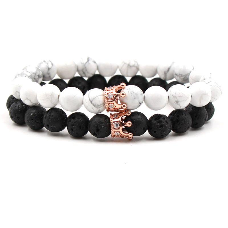 2pcs/lot Natural Stone Crown Beads Bracelet For Women Men Rose Gold Silver Color Stretch Bead Distance Bracelets Couple Jewelry