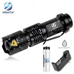 Мини светодиодный фонарик 4000LM Q5 T6 светодиодный фонарик с регулируемым фокусом вспышка для зумирования лампы использовать 14500 и 18650 дать под...