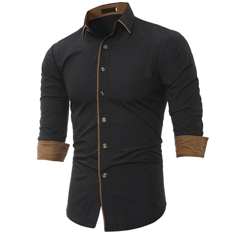 Men Shirt Brand 2017 Male High Quality Long Sleeve Shirt Casual Solid color Slim Fit Black Man Dress Shirts camisa masculina 3XL
