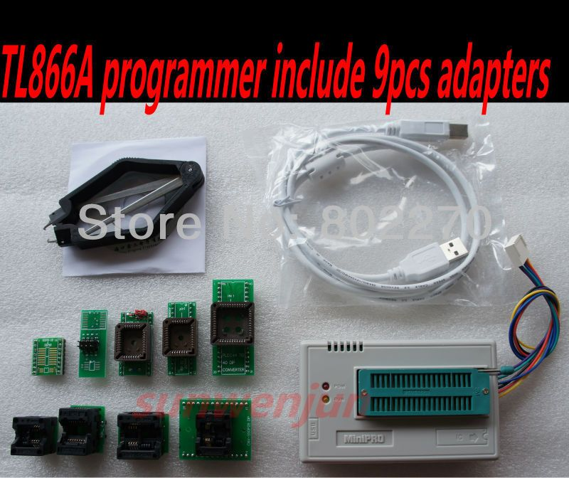 Russian MiniPro TL866A Programmer + 9 pcs adapter can ICSP SPI in-circuit program/support  13000 chips/support WIN7 64 bit