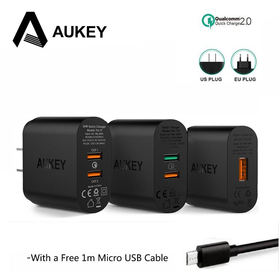AUKEY Charge Rapide QC 2.0 USB Chargeur Mural Chargeur Rapide Universel Chargeur de Voyage De Téléphone Portable Pour Samsung Galaxy s8 Pour xiaomi 5