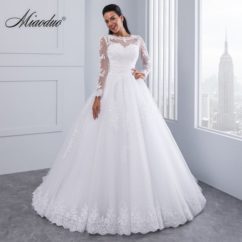 Miaoduo Ball Gown Wedding Dresses 2017 New Detachable train Lace Appliques Pearls Bridal Gowns Crystal Sashes Vestido De Novias