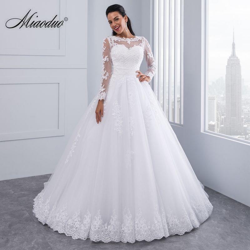 Miaoduo Ball Gown Wedding Dresses 2018 Detachable train Lace Appliques Pearls Bridal Gowns 2 en 1 Vestido De Novias Custom Made
