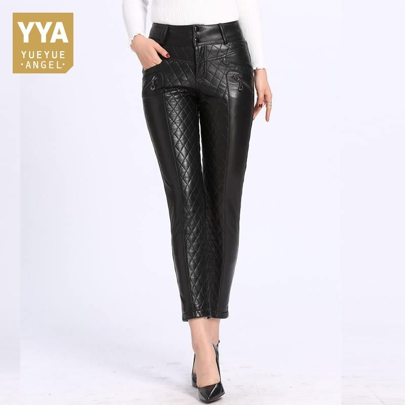 2018 Winter New Down Trousers for Women Slim Fit Warm Leather Pencil Pants Top Quality Black High Waist Leather Pantalon Femme