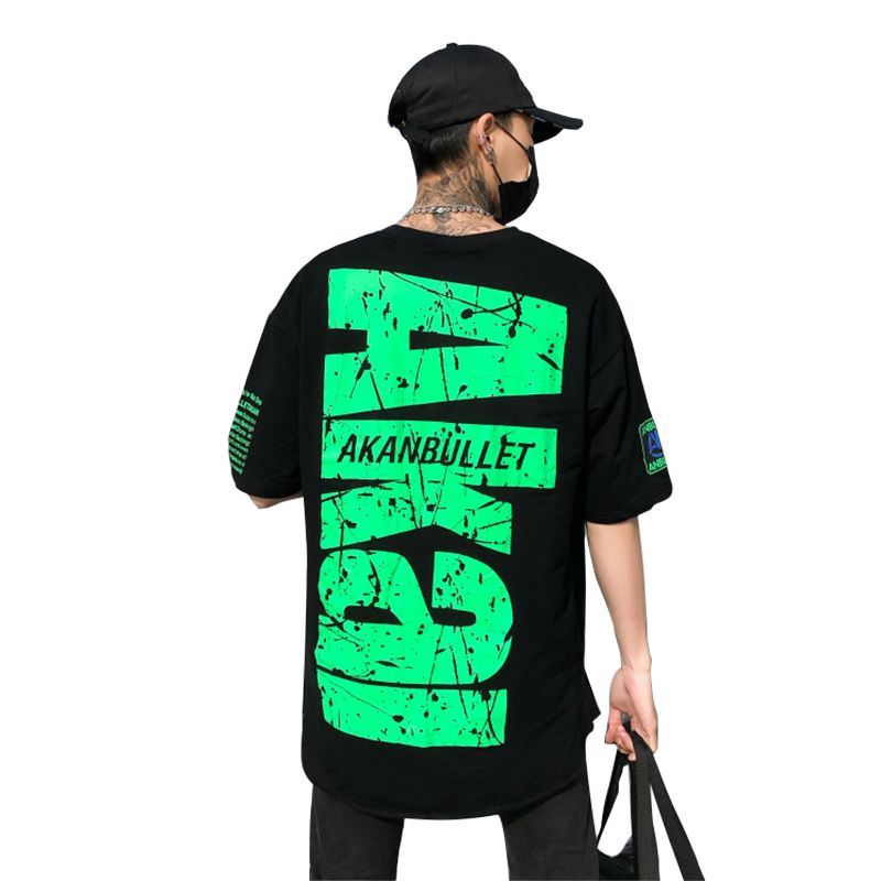 Dropship Supplier 2018 New Arrival Summer O-Neck Short Sleeve Green Letter Hip Hop T-Shirt Men