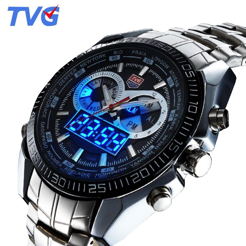 Tvg Watches Men Top Brand Luxury Stainless Steel Digital Analog Quartz Watch Men Sports Watches 30M Waterproof relogio masculino