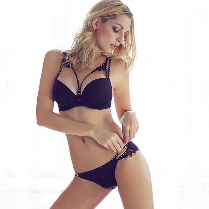 <font><b>2016</b></font> Sexy Women Hot Seamless Bra Set 3/4 Cup adjustable Push up Vs Bra Lingerie Underwear Sets For Women 70-85A B C D Cup