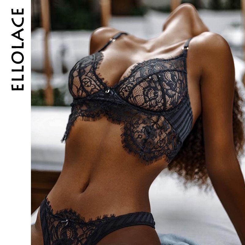 Ellolace Sexy Cils Dentelle Lingerie Set Sous-Vêtements Femmes Arc Cravate Sans Fil Bralette Transparent Évider Soutien-Gorge et Culotte Ensemble