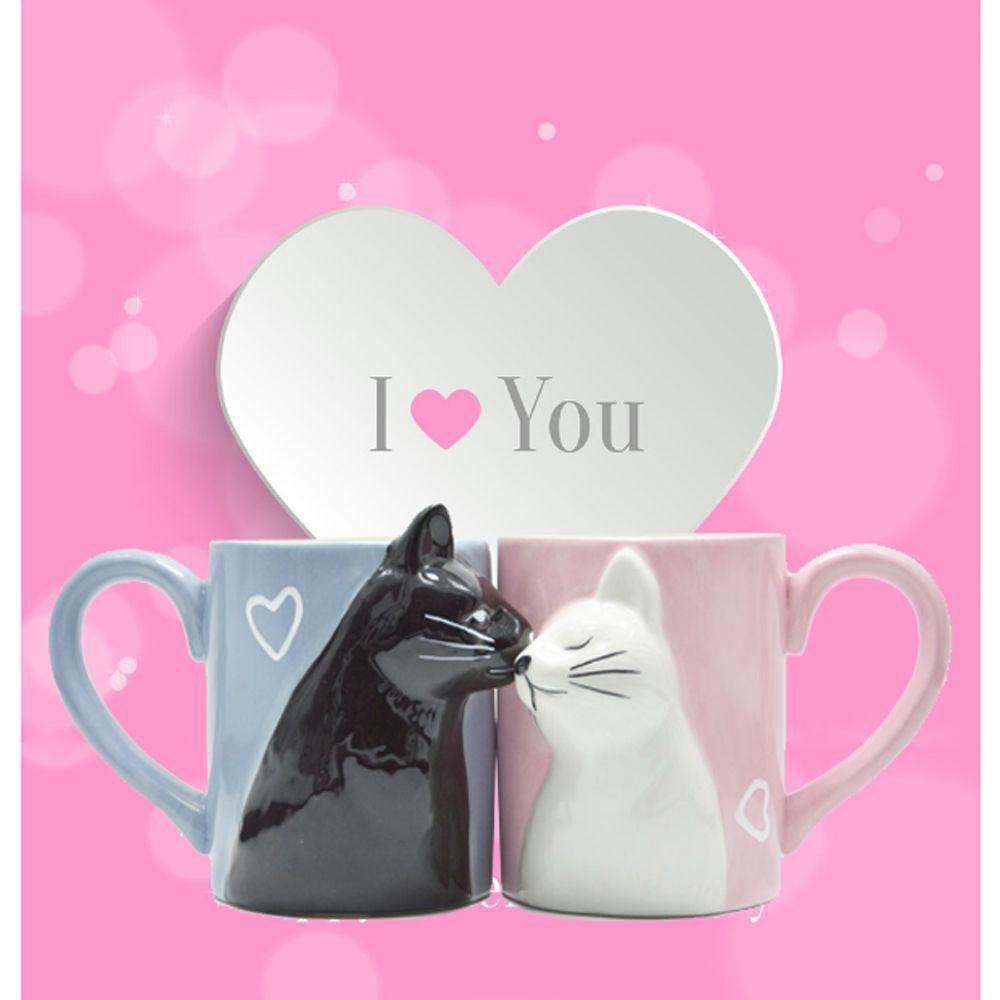 2 pièces luxe baiser chat tasses Couple en céramique tasses mariés Couples anniversaire matin tasse lait café thé petit déjeuner saint valentin