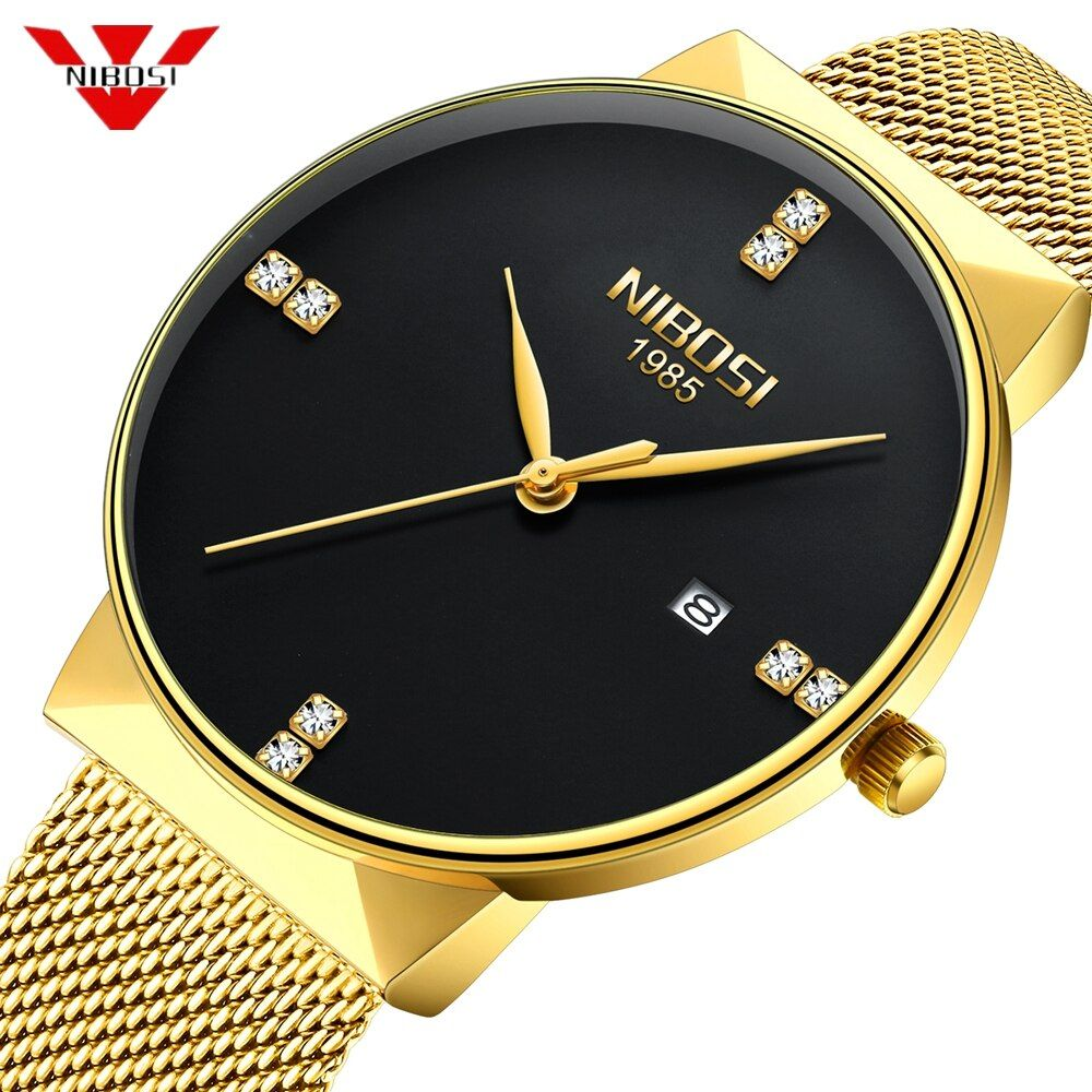 NIBOSI Gold Watch Men Fashion Sport Quartz Diamond Simple Clock Top Brand Luxury Waterproof Mens Watches Reloj Relogio Masculino