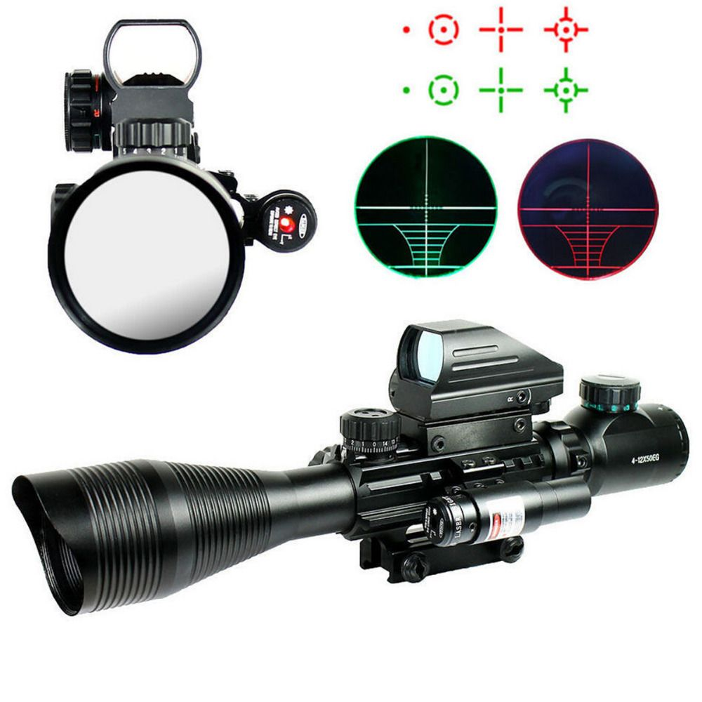Tactical 4-12X50EG Red & Green Illuminated Rifle Scope w/ Holographic 4 Reticle Sight & Red Laser JG8