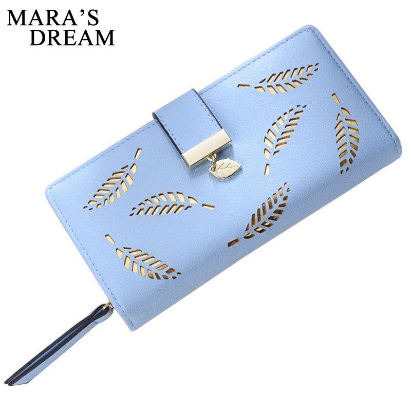 Mara's Dream 2019 Brand Leaves Hollow Women Wallet Soft PU Leather Women's Clutch Wallet Female Designer Wallets Coin Card Purse