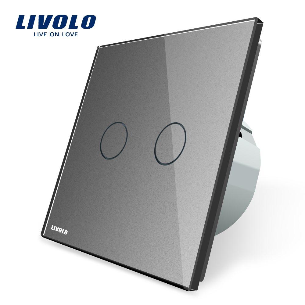 Livolo interrupteur tactile EU pour lampes, interrupteur tactile mural, panneau en verre cristal trempé 7 options, avec rétro-éclairage, AC 220-250V