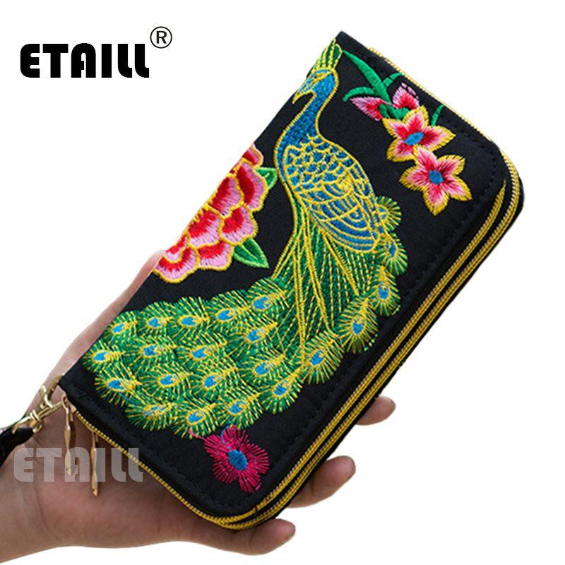 2016 Double fermeture à glissière ethnique Boho indien thaïlande brodé femmes portefeuilles toile Long portefeuille Floral sac à main célèbre marque Logo sac à main