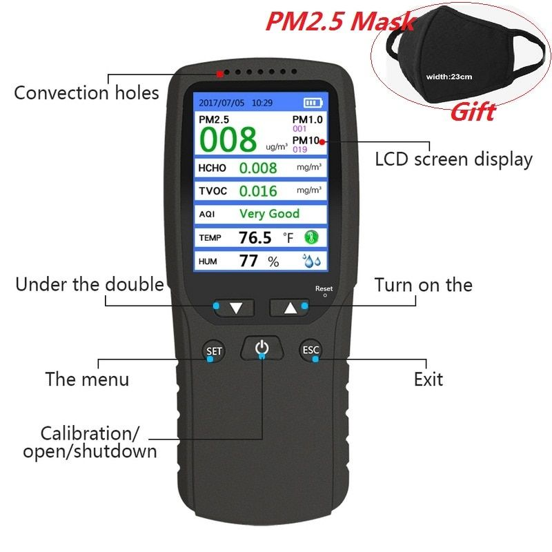 New 8 in 1 PM1.0 PM2.5 PM10 Monitor TVOC HCHO Formaldehyd Detector Temperature Humidity Meter Air Quality Monitor Gas Analyzer