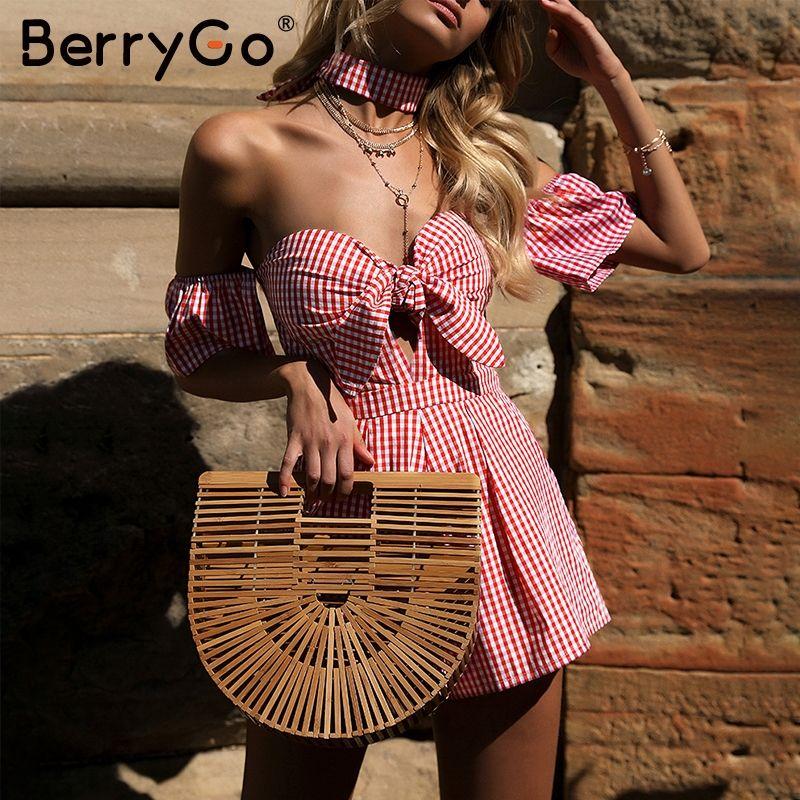 BerryGo Off shoulder plaid jumpsuit romper women Sexy backless bow high waist playsuit femal Summer beach 2018 short overalls