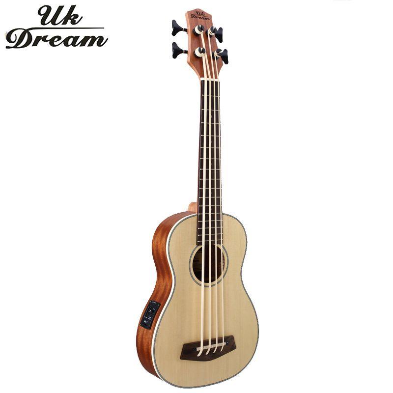 30 pouce En Bois Electrica Guitare Basse 4 cordes Ukulele Instruments de Musique Professionnel Picea Asperata U Basse ukulélé UB-513