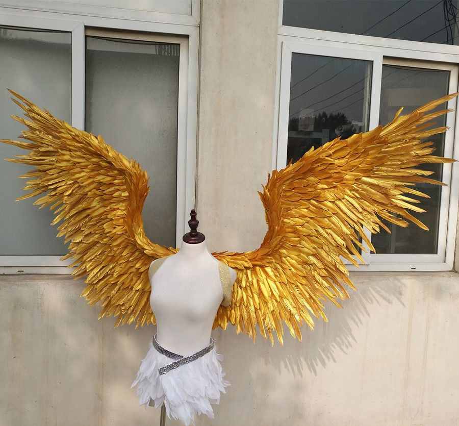 Ems-freies verschiffen rot Gold große flügel federn t-stadium modell laufsteg zeigt flügel requisiten partei leistung zeigt requisiten cosplay