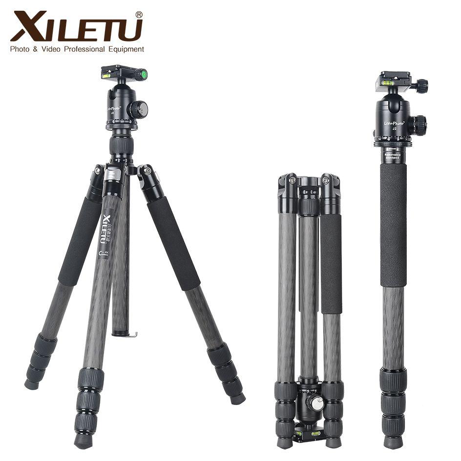 XILETU L334C + J2 Kit de trépied professionnel en Fiber de carbone de luxe avec Tube de diamètre Max 33mm/capacité de charge 20 kg/hauteur jusqu'à 185CM
