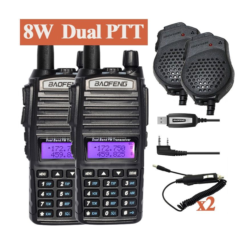 2pcs Baofeng UV-82HX Walkie Talkie 8W Radio UV 82 Portable Two Way Radio FM Radio Transceiver Long Range Dual Band Baofeng UV82