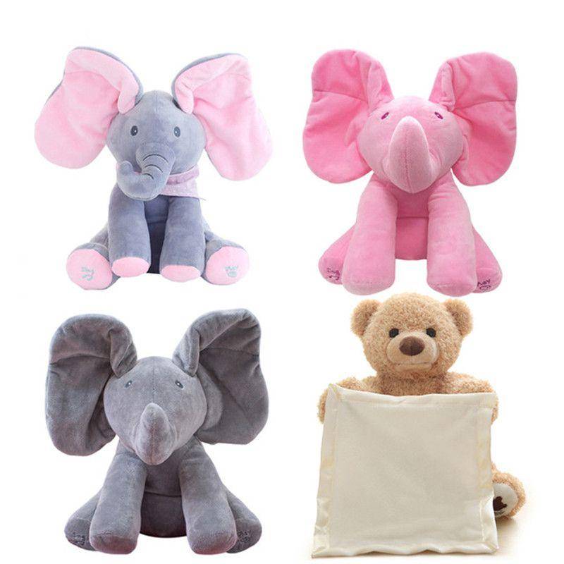 Magie Peek A Boo Elephant & Ours jouets En Peluche Poupée Jouer de La Musique Éducatif Éléphant Anti-stress Jouet cadeau Pour Enfants