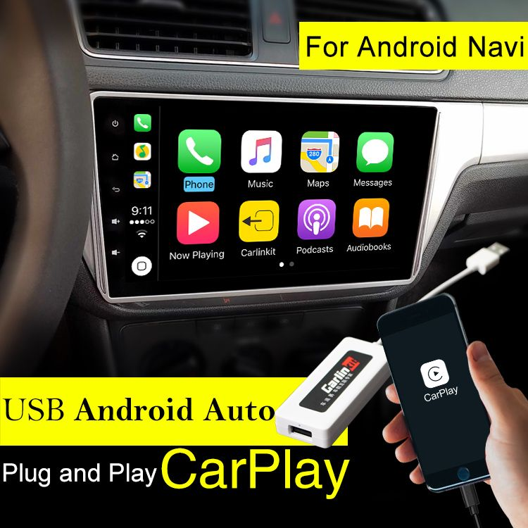 Carlinke USB Apple Carplay Dongle for Android Auto iPhone iOS11 Carplay Support Android / MTK WinCE system Car Navigation Player