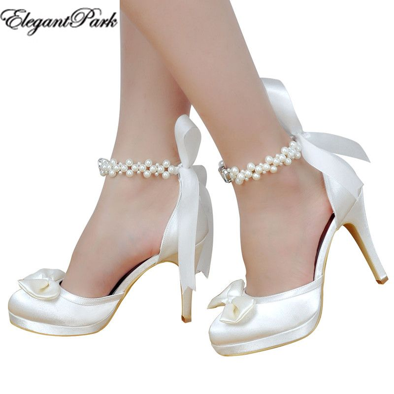 Woman High Heel Wedding Shoes White Ivory Round Toe Platform Pearls Ankle Strap Bow Satin Lady Prom Evening Bridal Pumps EP11074