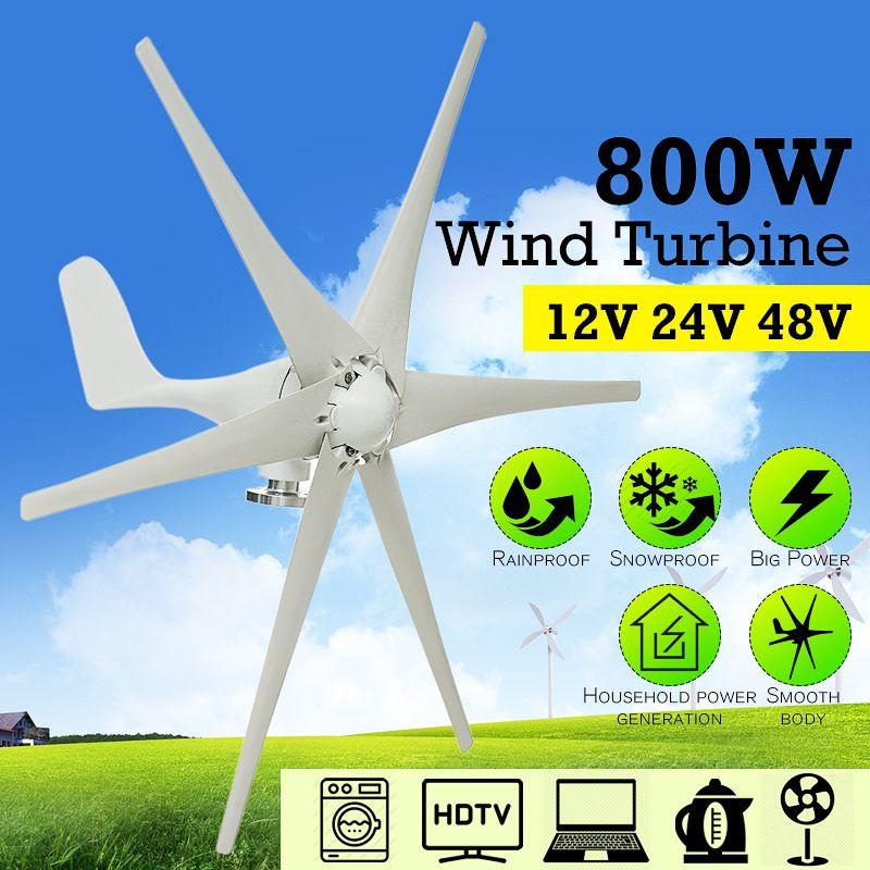 800 W 12 V 24 V 48 Volt 6 Nylon Faser Klinge Horizontale Hause Wind Turbine Wind Generator Power Windmühle energie Turbine Ladung