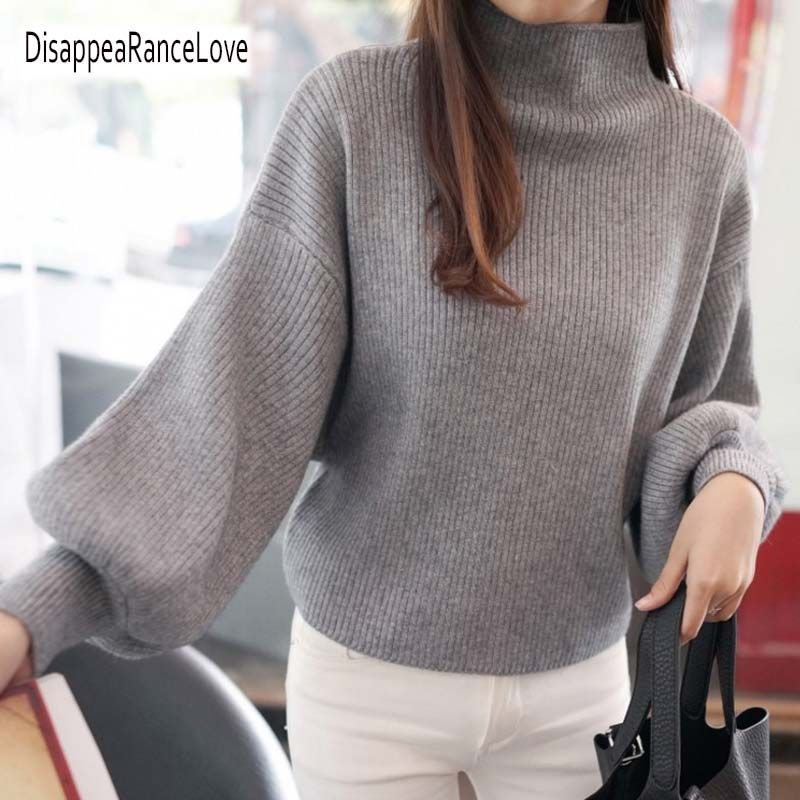 DRL 2018 New Winter Women Sweaters Fashion Turtleneck Batwing Sleeve Pullovers Loose Knitted Sweaters Female Jumper Tops 7color