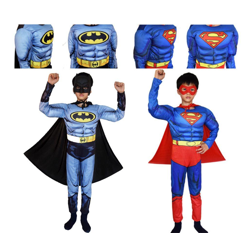 Superman Batman Movie Classic Muscle Child halloween costume for kids Justice league infantiles superheroes fancy dress