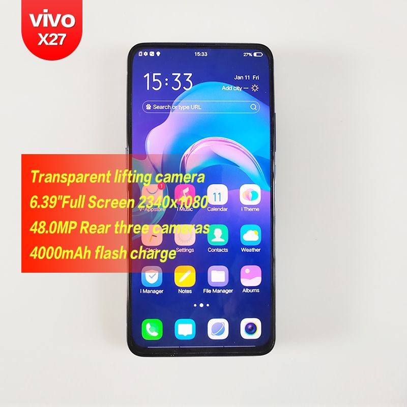 Vivo X27 Original Android Qualcomm 6,39 zoll FHD + Smartphone 2340x1080 48MP 4 kameras Octa Core 4000 mAh HD Fingerprint anerkennung