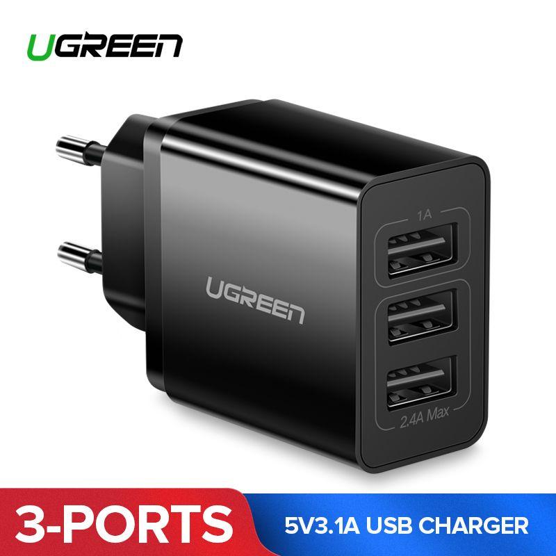 Ugreen USB Chargeur 5V3. 1A Voyage USB Chargeur pour iPhone X 8 Universal Mobile Téléphone Chargeur pour Samsung Xiaomi Mur Téléphone Chargeur