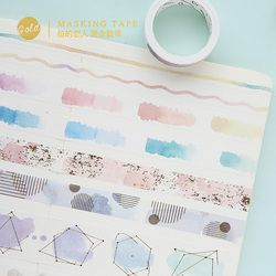 Baru Cat Air Penyepuhan Washi Tape DIY Dekorasi Scrapbooking Perencana Masking Tape Pita Perekat Label Sticker Stationery