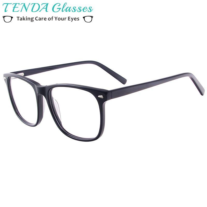Hommes femmes acétate lunettes cadre lunettes de Prescription lunettes carrées avec charnières à ressort pour lentilles myopie Progressive